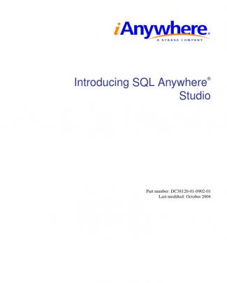 Introducing Sql Anywhere Studio