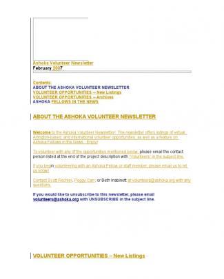 February Newsletter 2007