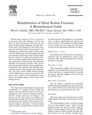 Rehab Distal Radius