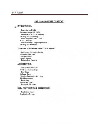 Sap Hana Course-contents