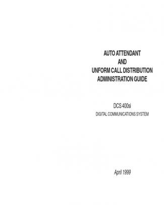 Samsung Dcs 400si Auto Attendant And Call Dist. Admin Guide